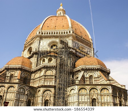 Ornate facade of the Duomo of Florence, Italy