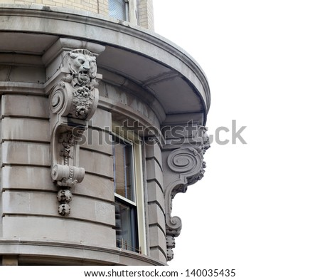 Ornate facade on building in New York City - stock photo
