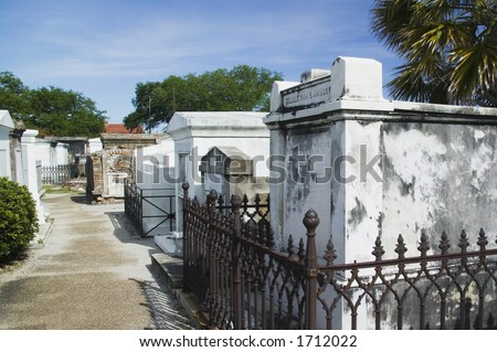 Ornate family mausoleums in St. Louis Cemetery #1 in New Orleans, Louisiana  United States - stock photo