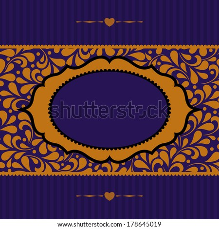 Ornate frame for invitation or announcement. Perfect as invitation or announcement. - stock photo