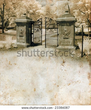Ornate gate on a grunge background with copy-space for your text.