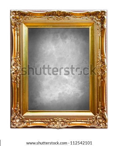 Ornate gold frame isolated on white background. - stock photo