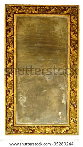 Ornate gold leaf frame, isolated - stock photo