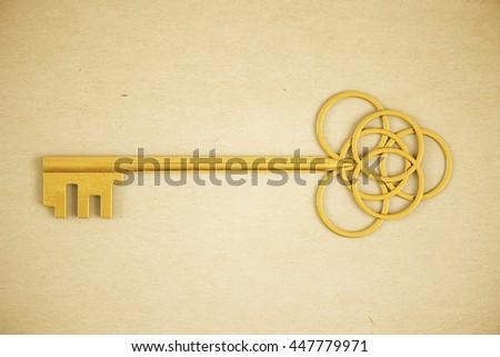 Ornate golden key on light background. 3D Rendering - stock photo