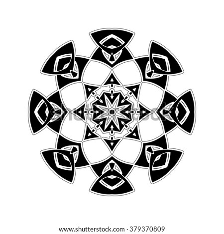 Ornate mandala. Gothic lace tattoo. Celtic weave with sharp corners. The circular pattern.