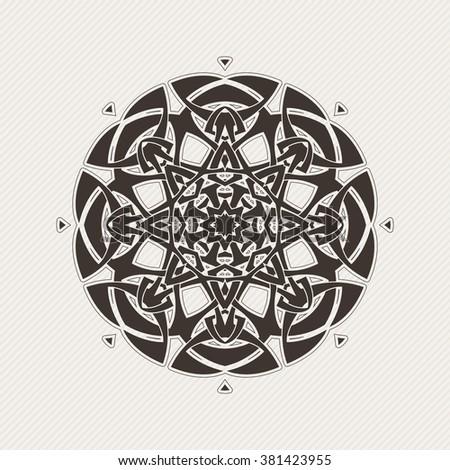 Ornate mandala. Gothic lace tattoo. Celtic weave with sharp corners. The circular pattern. - stock photo