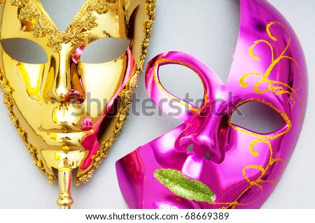 Ornate masks isolated on the white background