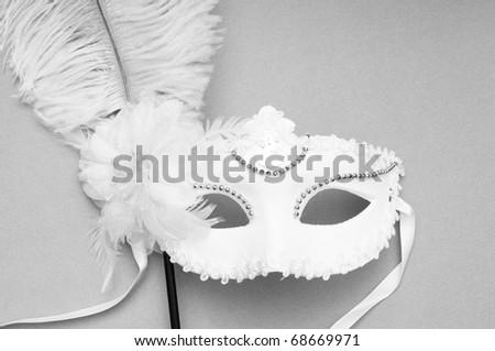 Ornate masks isolated on the white background - stock photo