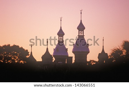 Ornate Moorish architecture of the Tampa Bay Hotel after sunset Tampa, Florida - stock photo