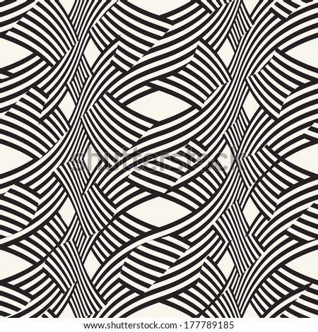 Ornate noisy interlacing curved stripes. Seamless pattern.