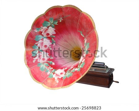 Ornate Painted Antique Cylinder Phonograph isolated with clipping path - stock photo