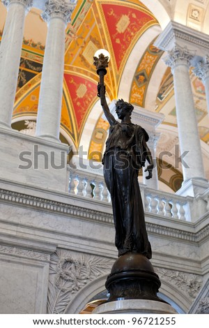 Ornate painted ceiling of Library of Congress in Washington DC - stock photo
