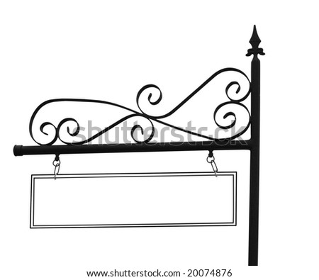 Ornate Sign Post with Copyspace Isolated with clipping path