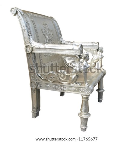 Ornate Silver Chair with Egyptian Figures Isolated with clipping path - stock photo