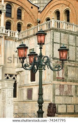 Ornate street lights in St Mark's Square, Venice, Italy - stock photo