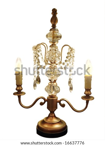 Ornate Table Lamp Chandelier isolated with clipping path - stock photo