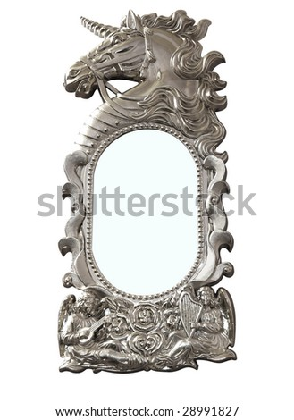 Ornate Unicorn Mirror isolated with clipping path - stock photo