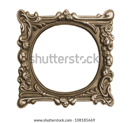 Ornate vintage frame isolated on white background - stock photo
