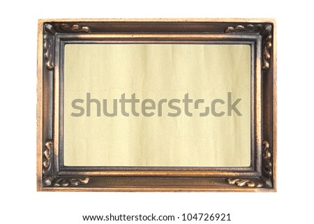Ornate vintage frame isolated on white background, aged paper in a metal frame. - stock photo