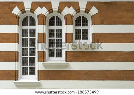 ornate vintage windows in London,UK - stock photo