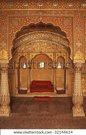 Ornately decorated room inside the palace of an Indian Maharjah. Bikaner, Rajasthan, India - stock photo