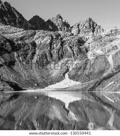 orning view from the village of Gokyo on the lake Dudh Pokhari - Nepal, Himalayas (black and white) - stock photo