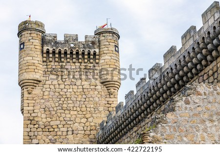 Oropesa Castle Turret in Toledo, Spain - stock photo
