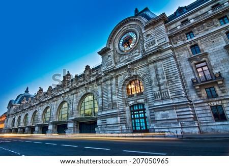 Orsay museum at night, Paris France - stock photo