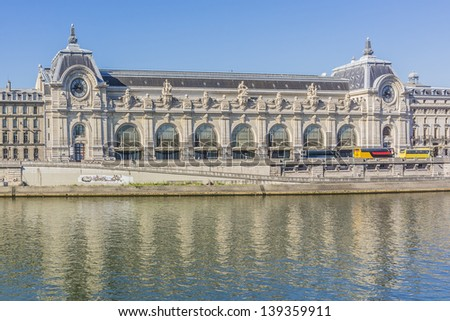 Orsay Museum is a museum in Paris, France, on the left bank of the Seine. It is housed in the former Gare d'Orsay. D�Orsay holds mainly French art dating from 1848 to 1915. - stock photo