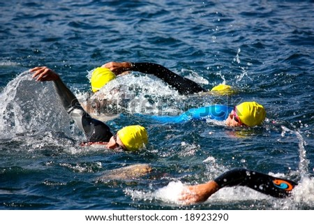 ORTA, ITALY - 5, OCTOBER 2008: Cusio Cup, Olympic Triathlon in Orta San Giulio, Italy, on the 5th October, 2008 - stock photo