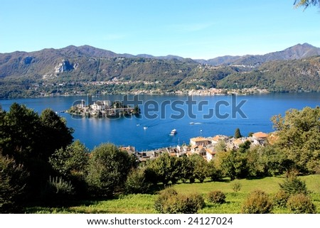 Orta lake and island in Northern Italy - stock photo