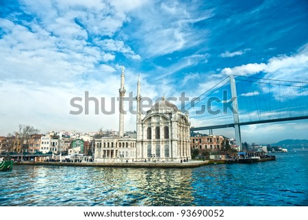 Ortakoy mosque and Bosphorus bridge, Istanbul, Turkey. - stock photo