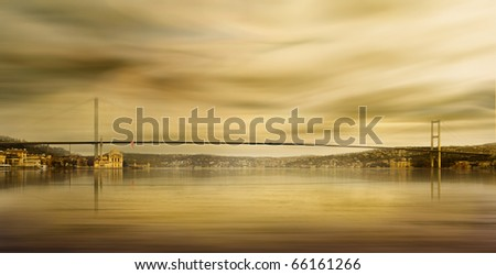 Ortakoy mosque and the Bosphorus bridge in Istanbul - stock photo