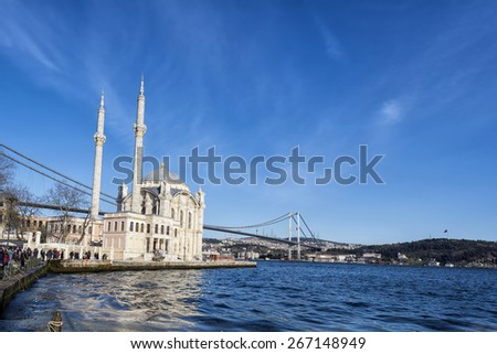 Ortakoy Mosque near Bosphorus in Istanbul, Turkey