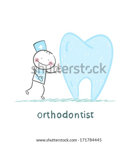 orthodontist is with great teeth - stock photo