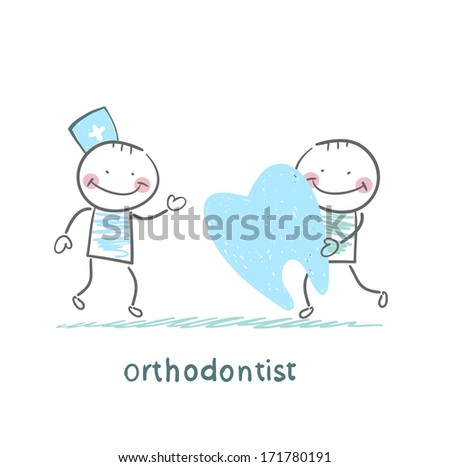 orthodontist patient receives a bad tooth - stock photo