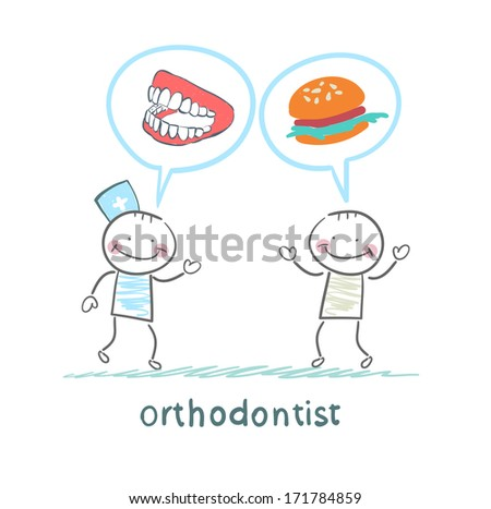 orthodontist says to the patient's teeth and eating - stock photo