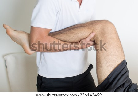 Orthodontists treat leg - stock photo