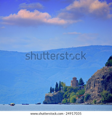 Orthodox Christianity Church St. John at Caneo, built on the Ohrid Lake Cliff in the 13th century, Ohrid, Macedonia