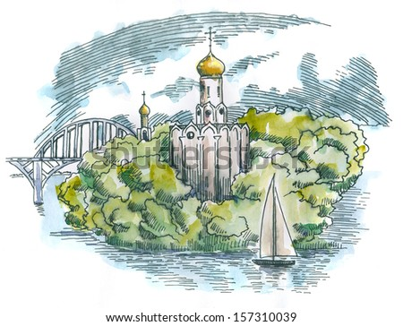 Orthodox Church in the island. Landscape. Sketchy style drawing. Ink and watercolor on paper.  - stock photo
