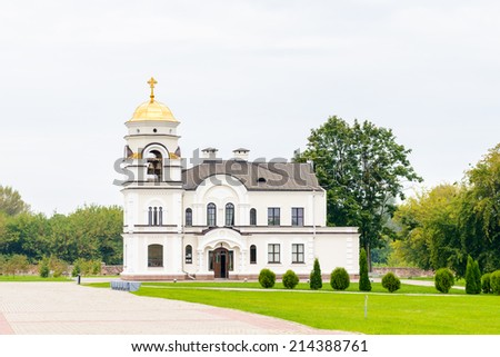 Orthodox church of the Brest Fortress, Brest, Belarus. It is one of the Soviet World War II war monuments commemorating the Soviet resistance against the German invasion on June 22, 1941 - stock photo