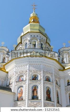 orthodox church over blue sky background - stock photo