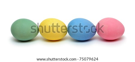 orthodox easter - colored eggs on white background