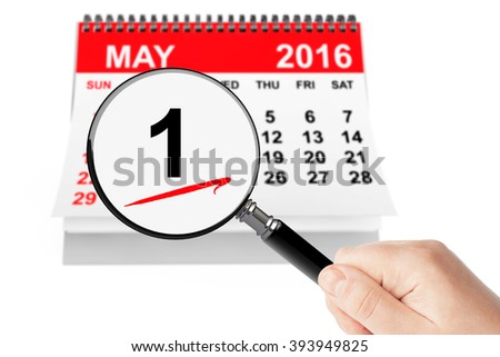 Orthodox Easter Concept. 1 May 2016 calendar with magnifier on a white background - stock photo