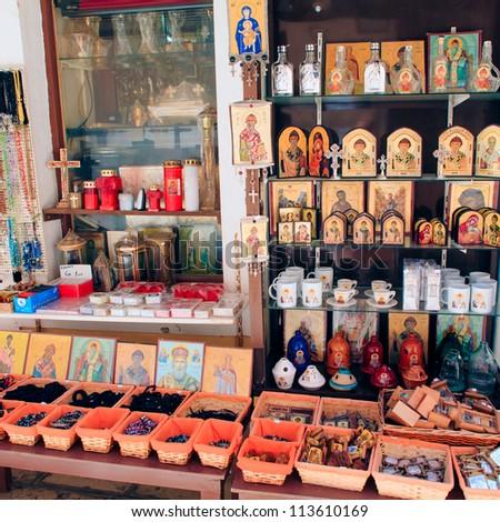 Orthodox icons and souvenirs, Corfu city, Greece - stock photo