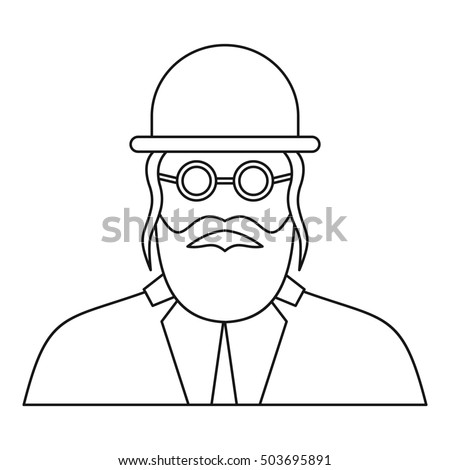 Orthodox jew icon in outline style on a white background  illustration