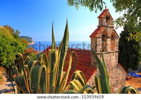 Orthodox monastery near the Adriatic sea - stock photo