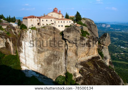 Orthodox Monastery Sacred Stefan (Agios Stefanos) on the rock, near Kalampaka, Meteora,  Fessalia, Greece