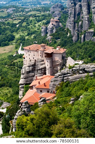 Orthodox Nunnery Roussanou on the rock, Meteora, near Kalampaka, Fessalia, Greece