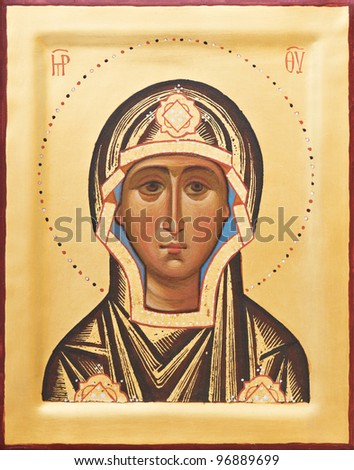 Orthodox religious Icon of saint Mother of God (Mary) on gilding wood - stock photo